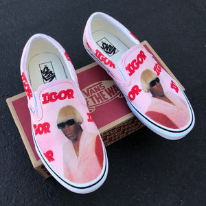 Custom IGOR Vans Slip ons for Tyler The Creator - Custom Order