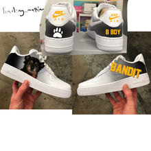 US Woman's Size 7.5 White Nike Air Force 1- Bandit Theme- Custom Order