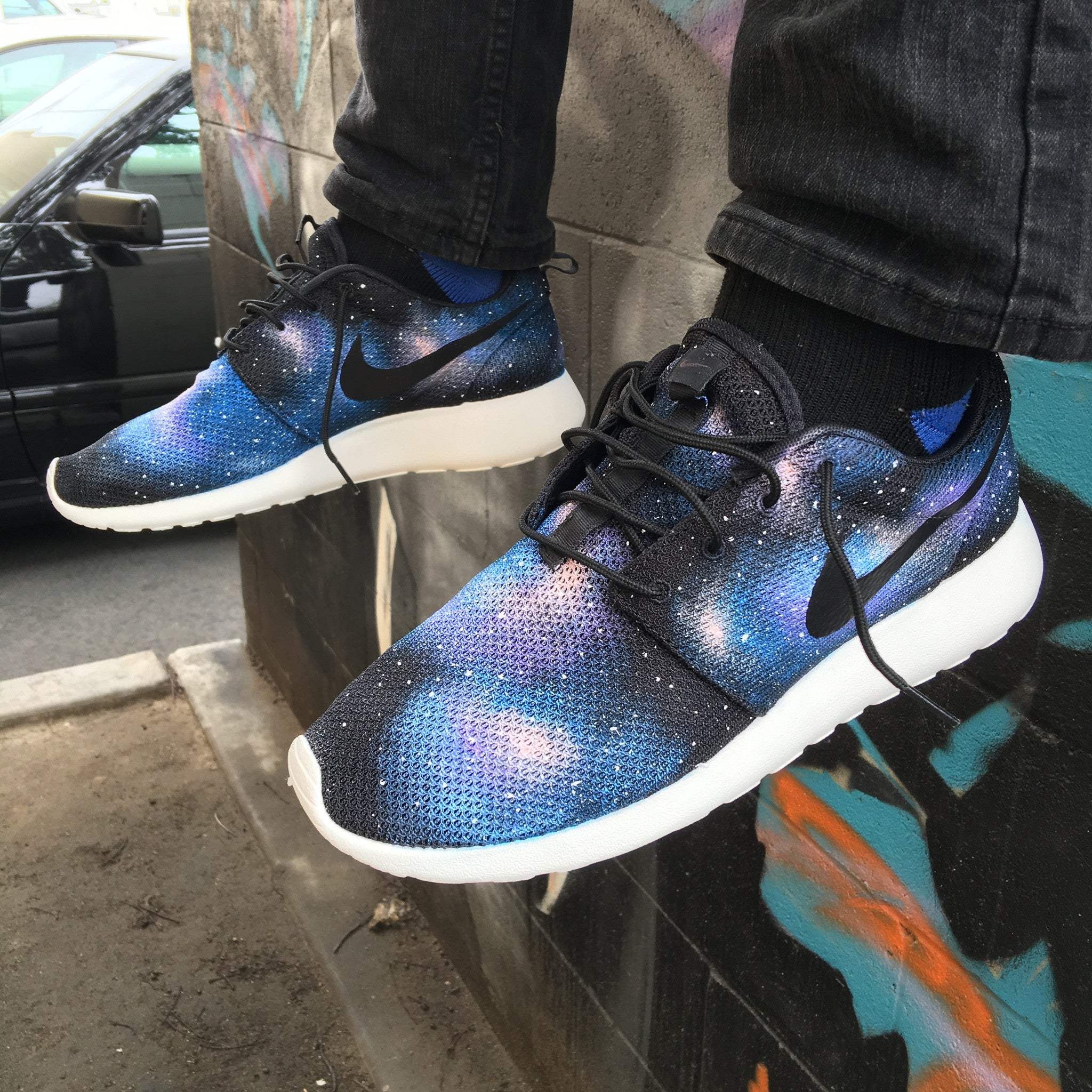new concept 0a53e b6b1f ... Galaxy Roshe, Custom Painted Galaxy Nike Roshe One Sneakers ...