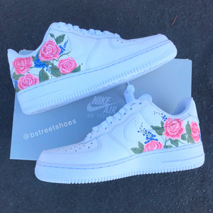 Custom Painted Pink Rose Nike Air Force I