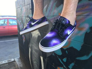 Custom Hand Painted Purple Smoke Nike SB Stefan Janoski Skate Shoes