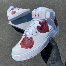 Custom Hand Painted Red Rose Nike Air Force 1 Mid