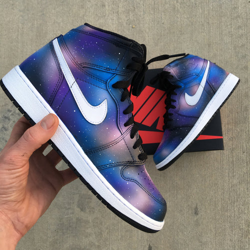 Custom Nike Jordan 1 Retro Sneakers - Galaxy