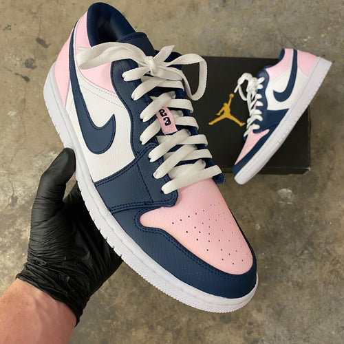 Custom Colorway Nike Pink and Navy Air Jordan Low