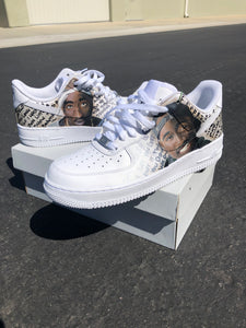 US Men's size 8 (EU 41) White AF1 Low, Tupac Theme - Custom Order - Invoice 1 of 2