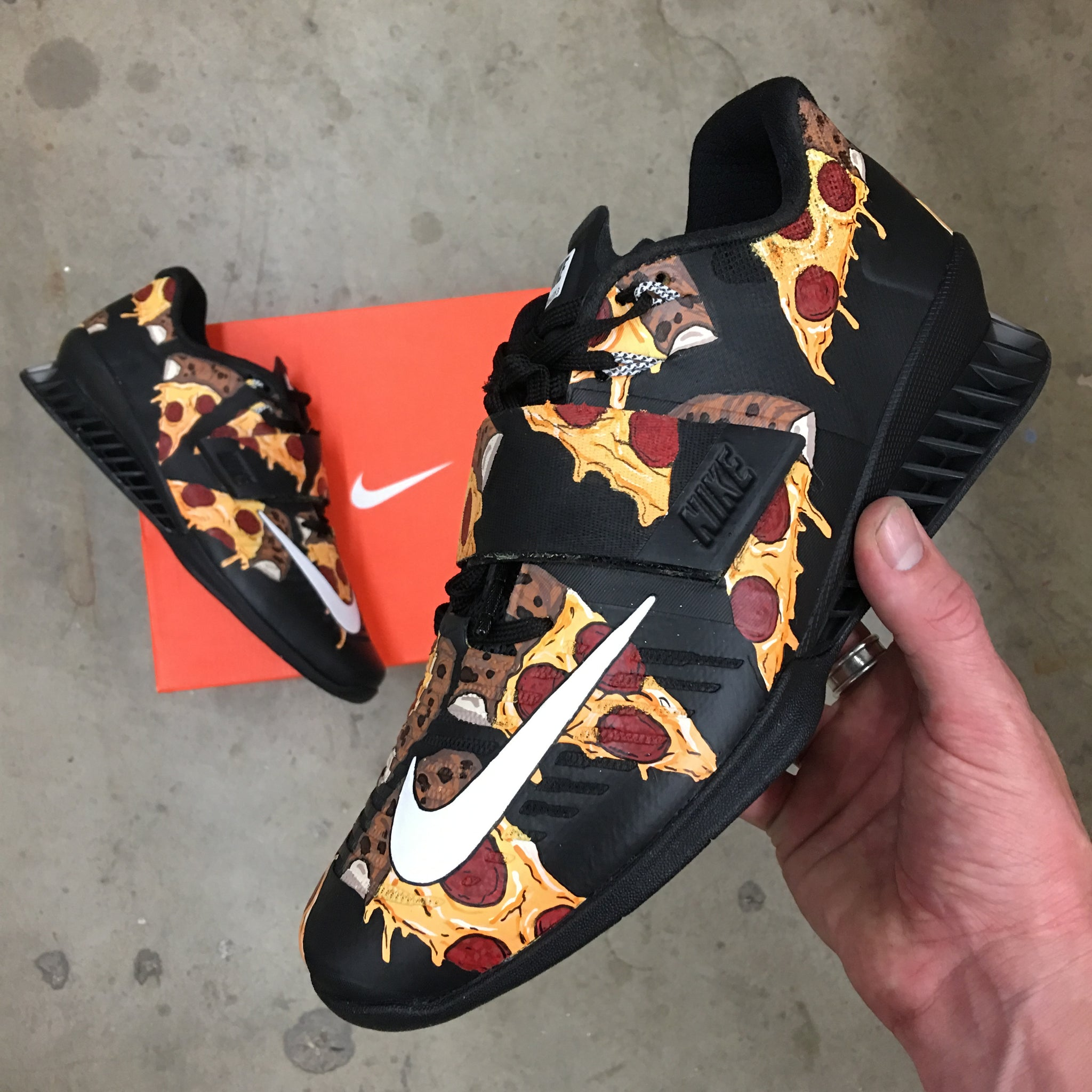 Cúal Adolescencia Parlamento  Pizza Themed Nike Romaleos 3 Weightlifting Shoes- Custom Painted Nike – B  Street Shoes