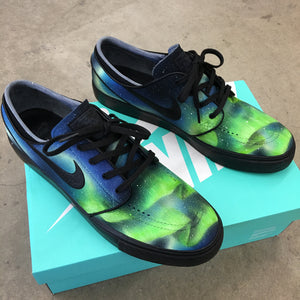 Custom Painted Nike SB Northern Lights Stefan Janoski Skate Shoes - Aurora Borealis
