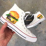 Custom Painted Cheeseburger Converse