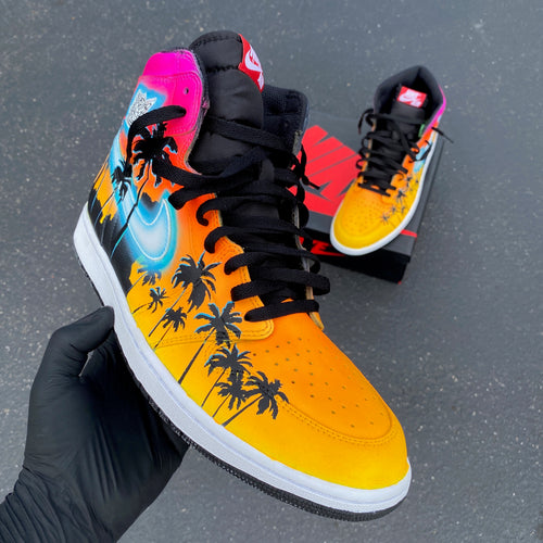 Custom Hand Painted Nike Glowing Miami Palm Trees Jordan 1 High