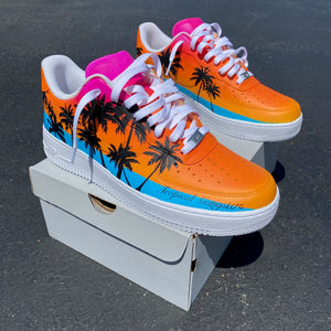 Custom Hand Painted Tropical Palm White Nike Air Force 1 Low