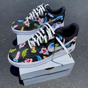 Custom Hand Painted Tropical Floral Black Nike Air Force 1 Low