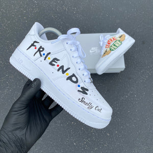 Custom Hand Painted Friends Theme White Nike Air Force 1 Low