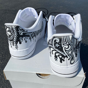 Custom Hand Painted Black Bandana Drip Nike Air Force 1 Low