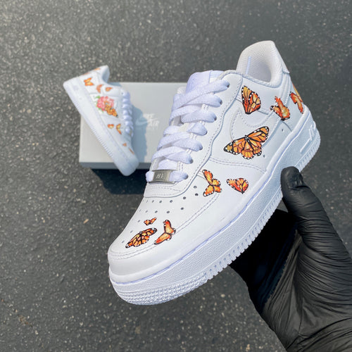 Custom Hand Painted Monarch Butterfly Nike Air Force 1 Low