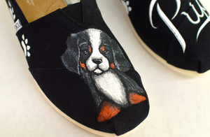 Puppy Dog Shoes, Hand Painted Shoes, Custom Toms