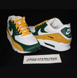 US Men's size 9 White/White Nike AM90 - Greenbay Packers Theme - Custom Order