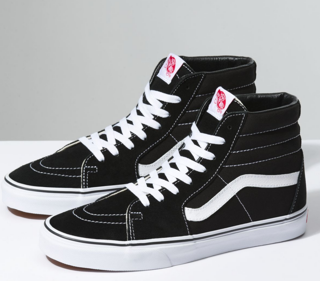 US Men's Size 8.5 Vans Black/White Sk8-Hi's- FTP Logobomb- Custom Order