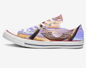 US Women's Size 9 White Low Top Converse- Sunset Beach Theme- Custom Order