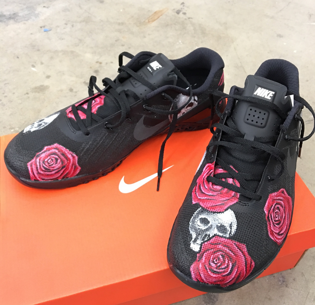 US Men's Size 7 All Black Nike Metcon 4- Skull & Roses Design- Custom Order