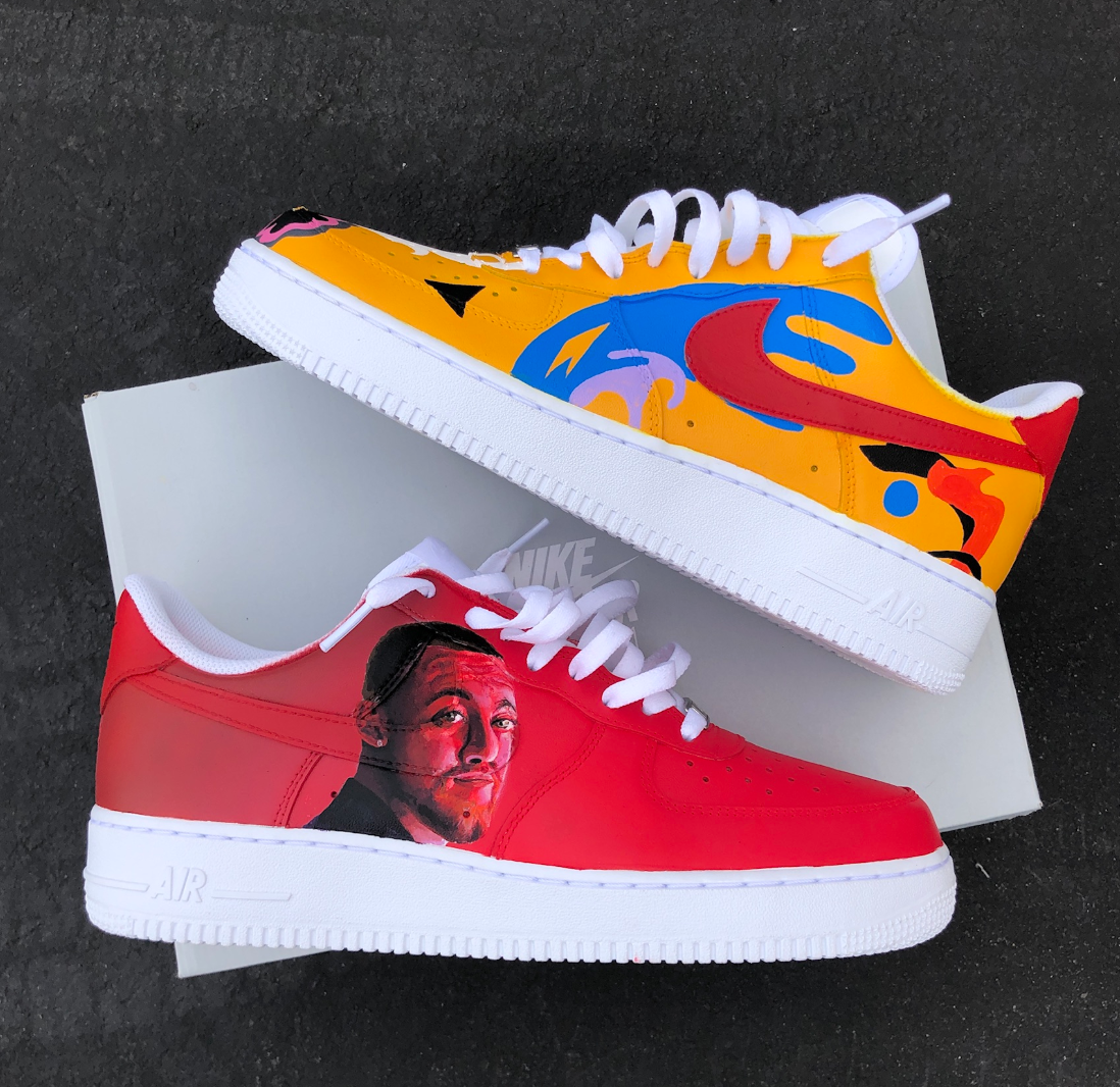 Hand customized nike air force ones