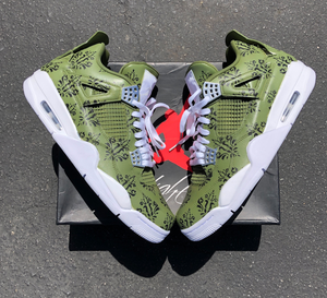 Jordan 4 Pure Money Army Green and Black Damask Baroque Print- Limited Quantity Being Made!