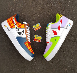 US Men's Size 7 White Nike Air Force 1 Low- Buzz and Woody Theme- Custom Order- Payment 1 of 2