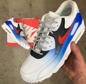 US Men's Size 9 White Nike Air Max 90- Blue, Black and Red Ombre Design- Custom Order- Payment 1 of 2