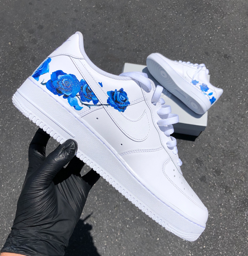 Delicate Blue Rose Design Nike Air Force 1
