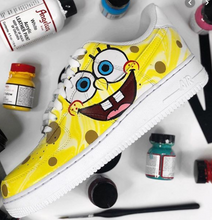 US Men's Size 11 White High Top Nike Air Force 1- Spongebob Theme- Custom Order- Payment 1 of 2