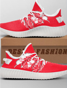 US Women's Size 9.5 Triple White Yeezy- Delta Sigma Theta Shield Theme- Custom Order- Payment 1 of 2
