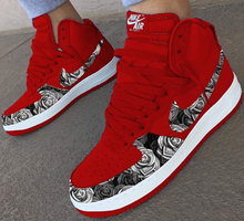 US Men's Size 11 White Nike Air Force 1 High- Red W/ Money Roses- Custom Order- Payment 1 of 2