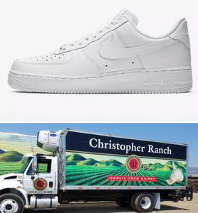 US Men's size 11 White Nike AF1 Low - Christopher Ranch Theme - Custom Order - Invoice 1 of 2