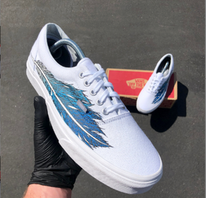 Hand Painted Eagle Feather on White Vans Era - customizable