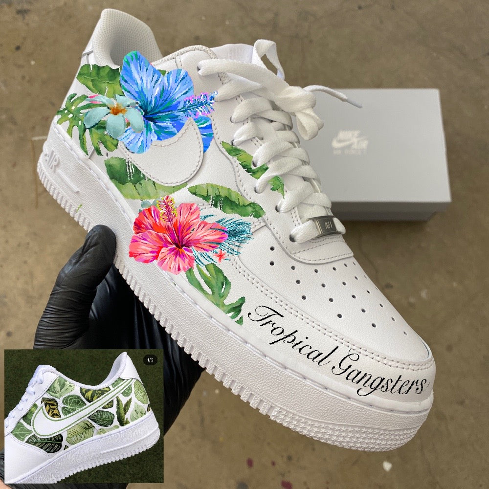 Men's size 12 Nike AF1 Low - Tropical Gangsters - Custom Order - Invoice 1 of 2