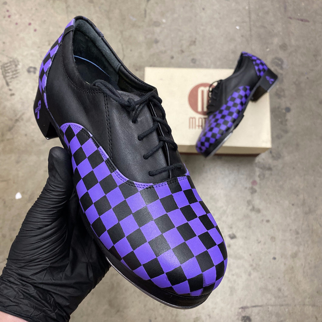 Purple Checkerboard Tap Shoes - Custom Order