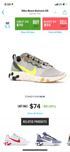 US Men's size 9.5 Nike Element React 55- Camo - Custom Order