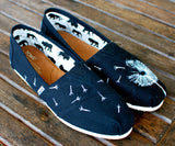 Custom Hand Painted TOMS -- White Dandelion on Black Canvas Classic TOMS Shoes -- Customizable - B Street Shoes
