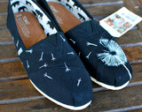 dandelion toms, flower toms, painted toms, dandelion see art toms shoes, custom shoes