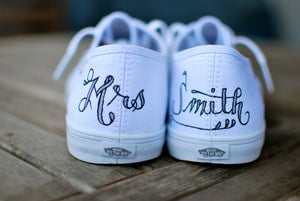 Custom Wedding Vans with your name, wedding date and flowers of your choice - B Street Shoes