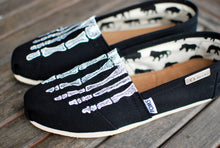 Custom Hand Painted TOMS -- Skeleton X-ray Boney feet on Black Canvas Classic TOMS Shoes -- Customizable