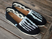 Custom Hand Painted TOMS -- Skeleton X-ray Boney feet on Black Canvas Classic TOMS Shoes -- Customizable - B Street Shoes