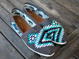 Custom Hand Painted TOMS -- Native American tribal theme on Ash Grey Canvas Classic TOMS Shoes -- Customizable - B Street Shoes