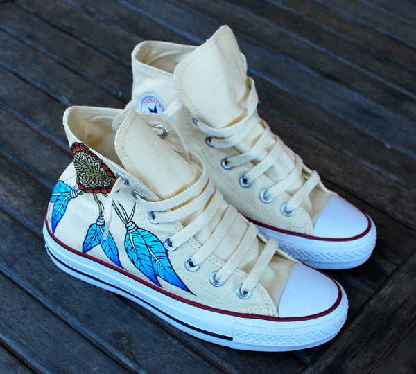 Custom Hand Painted Converse Sneakers - Dream Catcher and Indian Chief with headdress on Chuck Taylor Hi tops - customizable - B Street Shoes