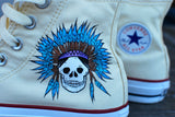 Custom Hand Painted Converse Sneakers - Dream Catcher and Indian Chief with headdress on Chuck Taylor Hi tops - customizable