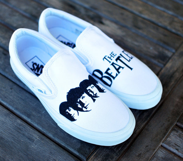 Custom hand painted Beatles Slip-on Vans - B Street Shoes