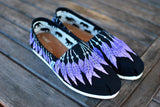 Hand Painted Pink and Purple feather Moccasins on Black Classic Toms