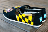 Custom Hand Painted Baltimore Ravens Black Classic Toms featuring Maryland Flag - B Street Shoes