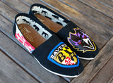 Custom Hand Painted Baltimore Ravens Black Classic Toms featuring Maryland Flag
