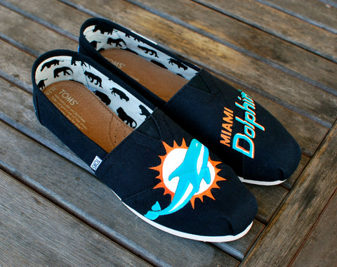 Custom Hand Painted Miami Dolphin Toms shoes