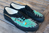 Hand Painted Peacock Feather on Vans Authentic